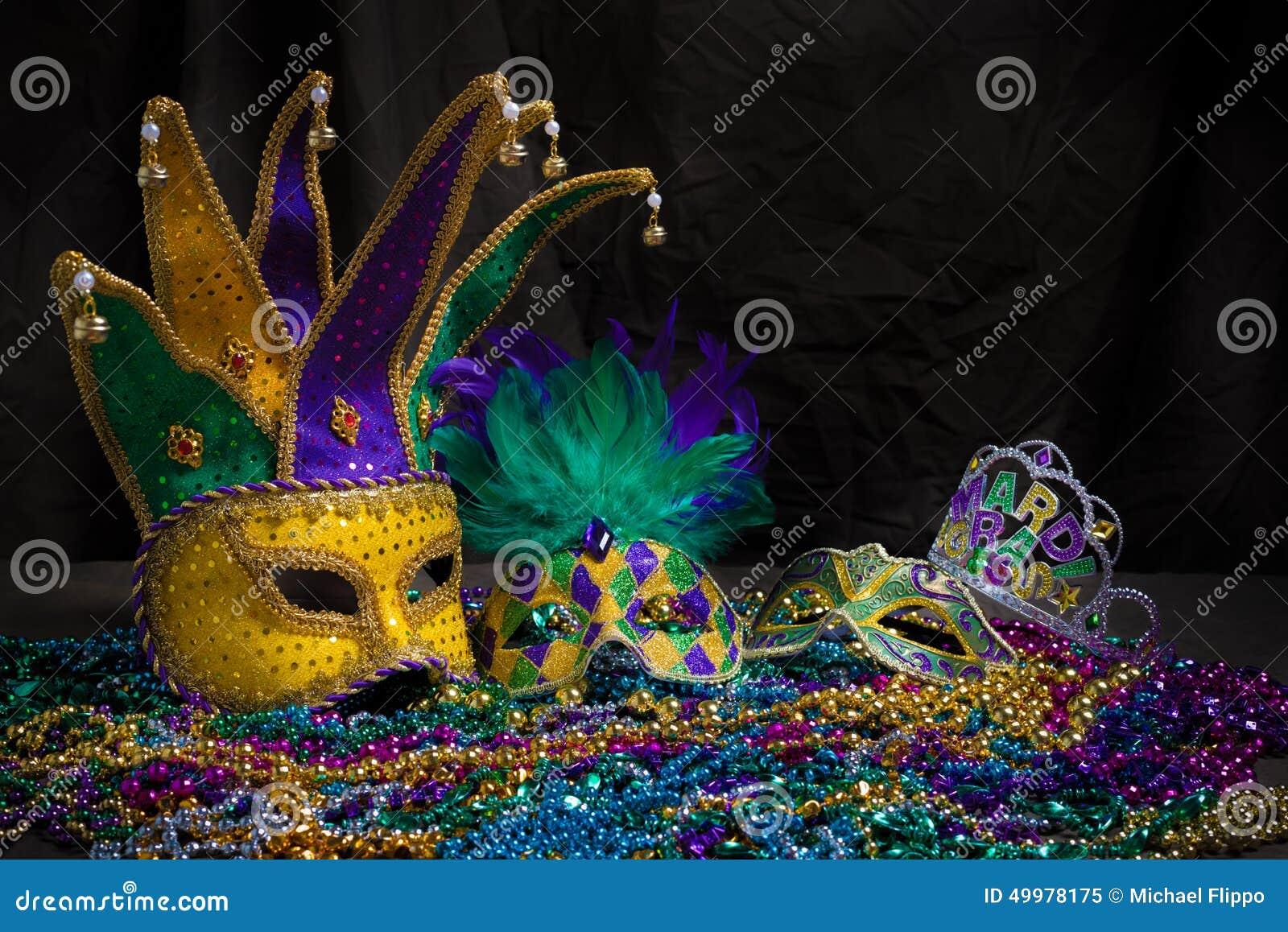Mardi Gras Masks on dark Background