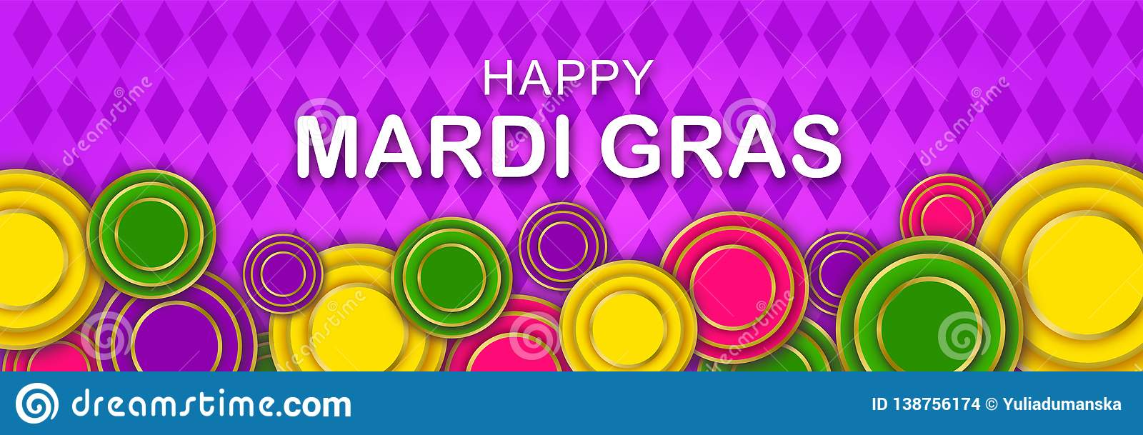 Mardi Gras Party banner with a Lettering, carnival mask, floral elements and Mardigras cover. Circus amusement poster