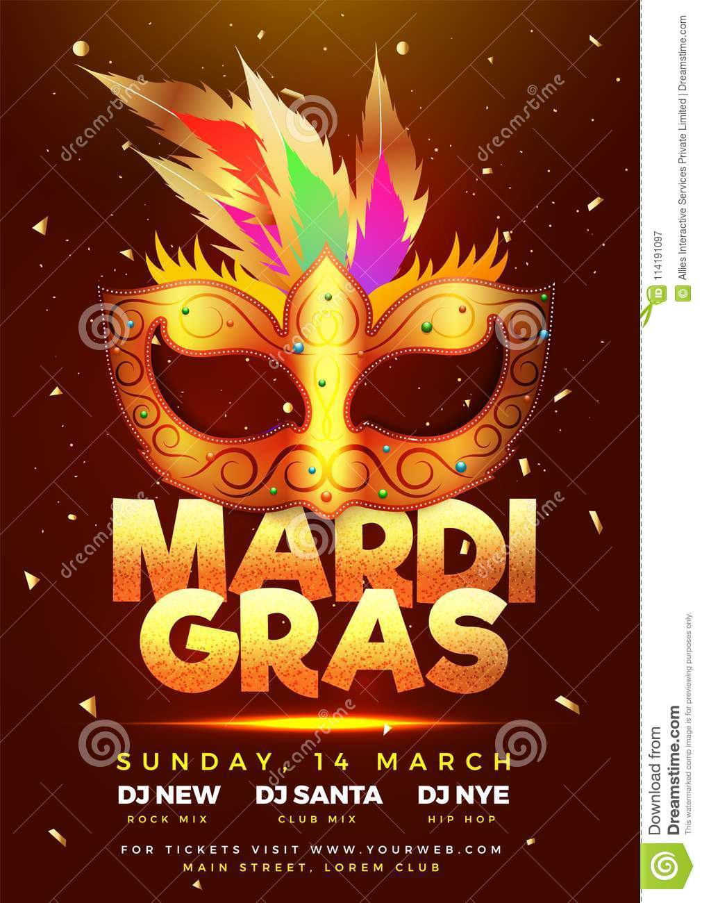 Mardi Gras Party Concept Design With Golden Mask. Stock Illustration ...