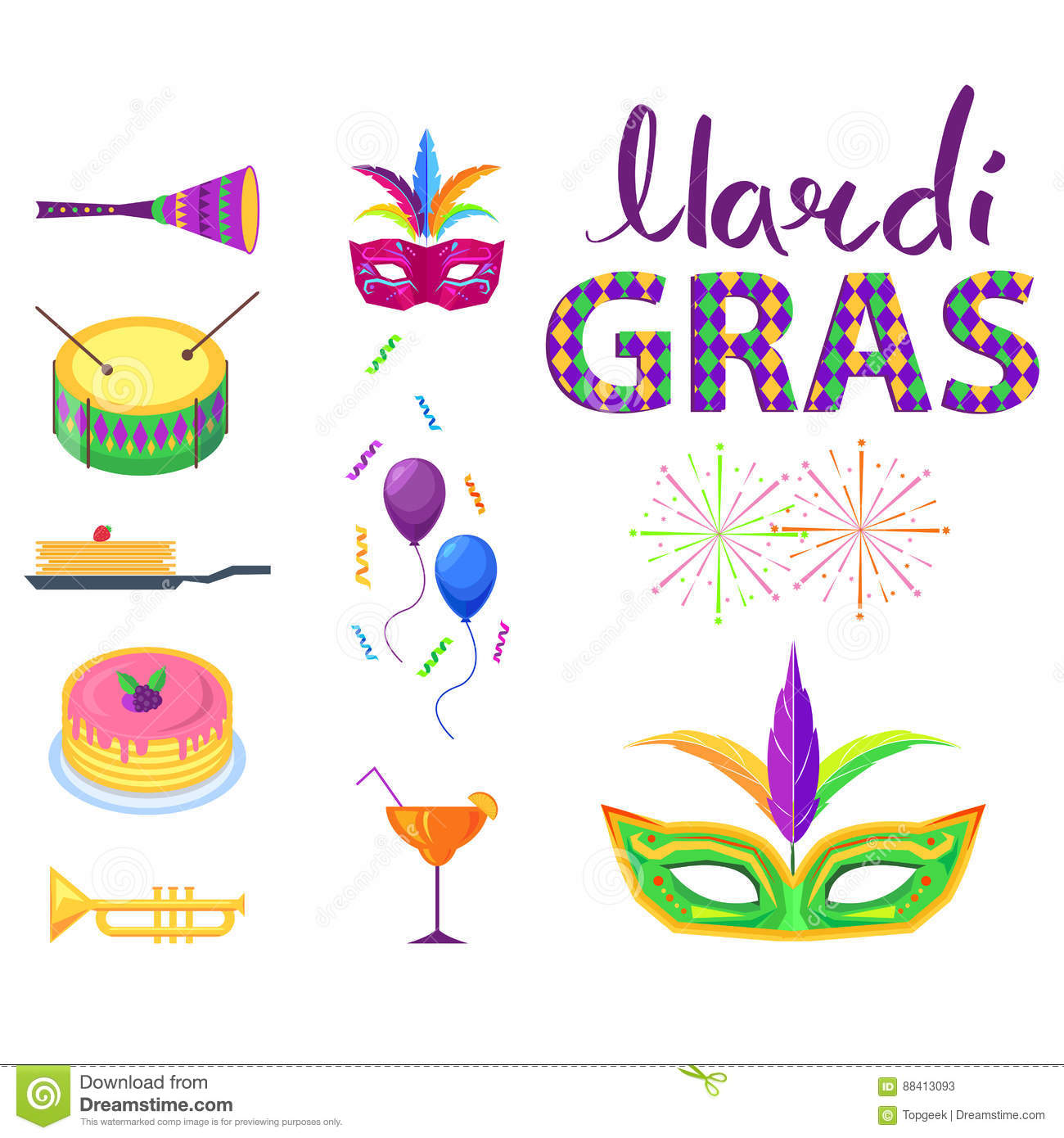Mardi Gras Poster With Colorful Carnival Symbols Stock Vector