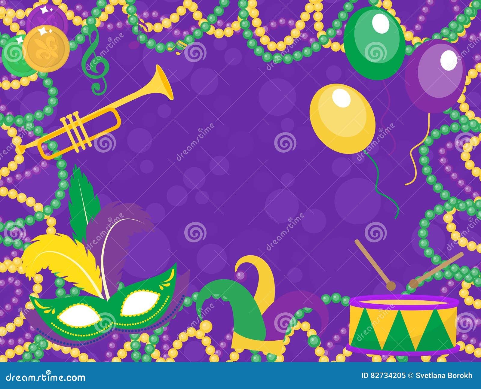 mardi gras poster with mask, beads, trumpet, drum, fleur de lis