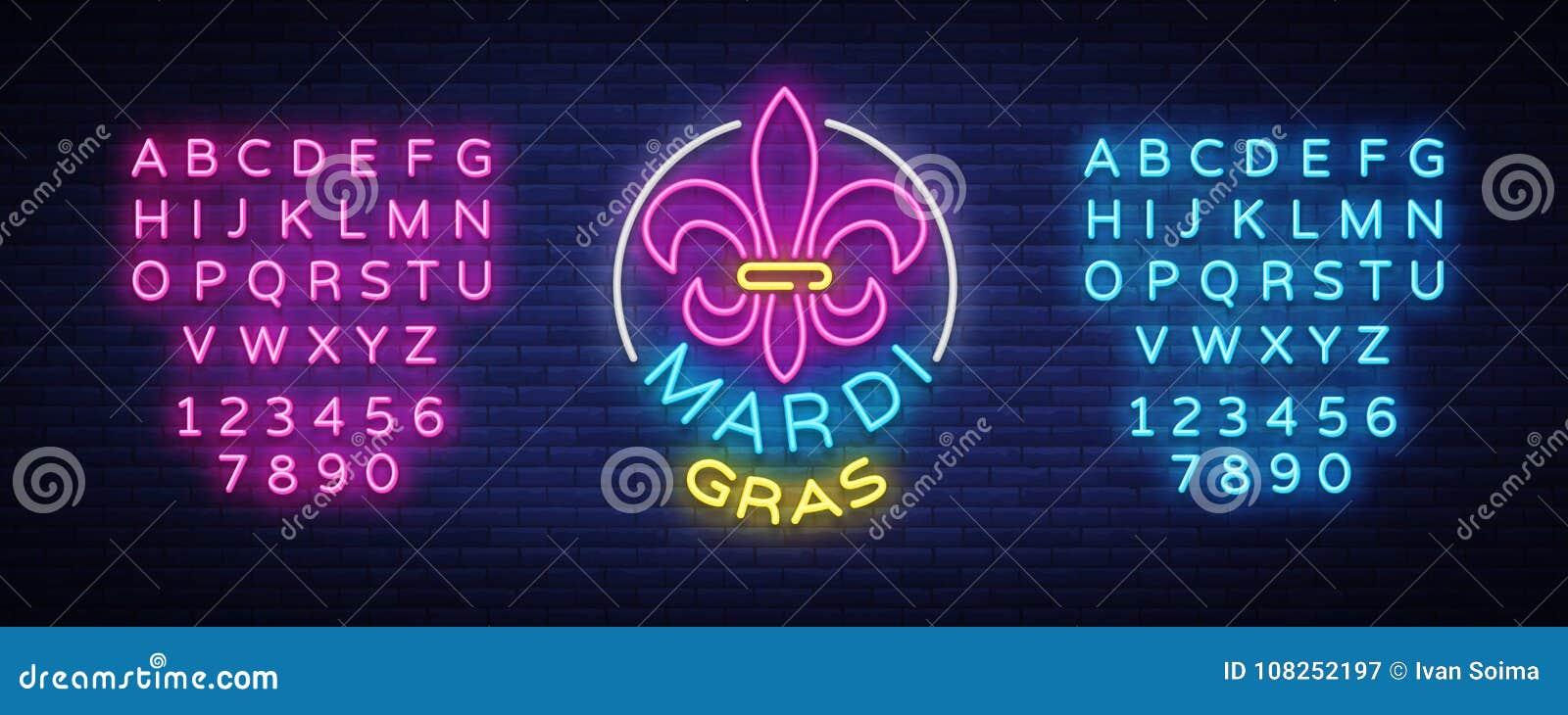 Mardi Grav是一个霓虹灯广告 明亮的发光的横幅,霓虹广告牌,狂欢节霓虹广告  肥胖星期二设计