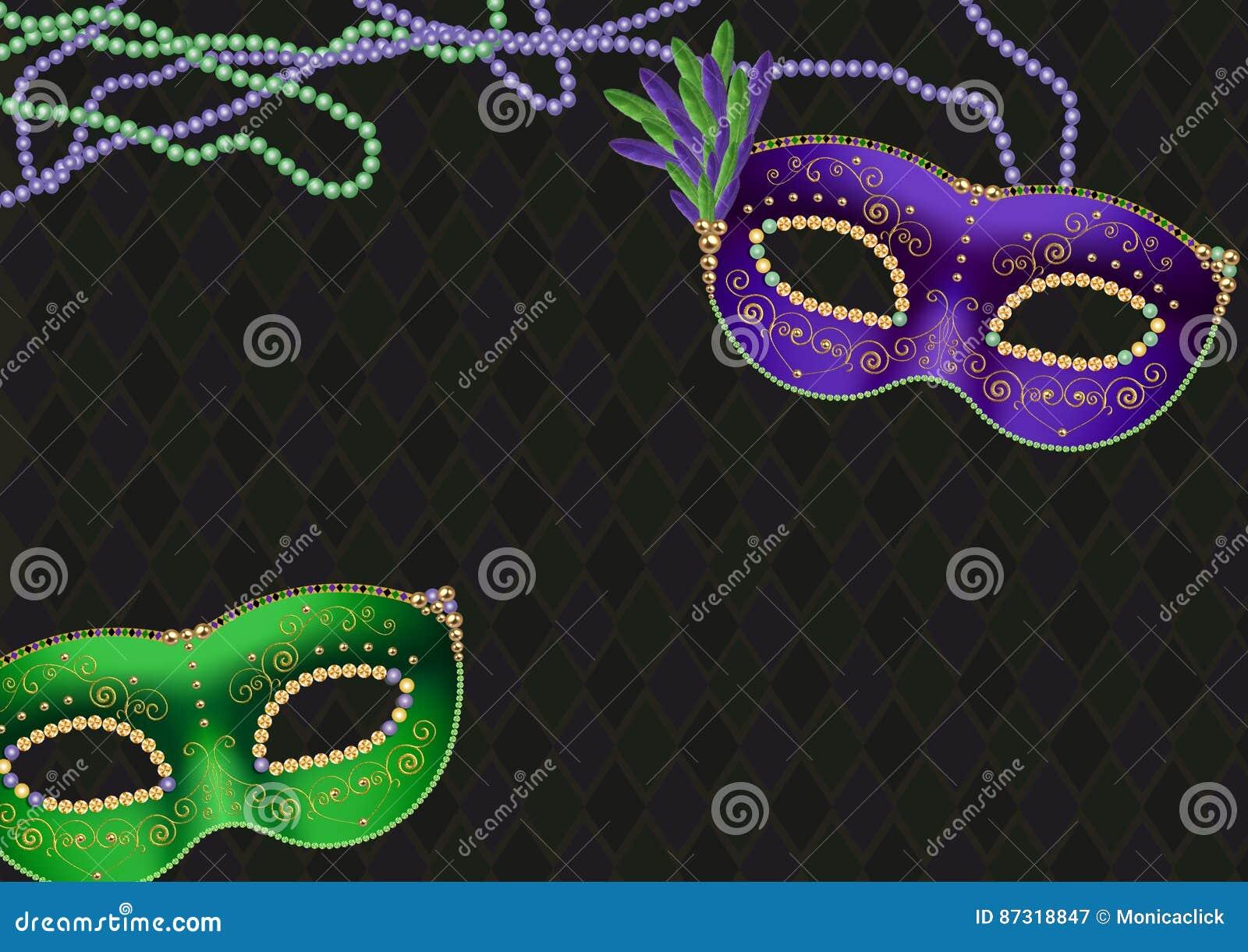 Mardigras, de vette achtergrond van het dinsdagthema, met groene en purpere maskers en parelhalsbanden, exemplaarruimte