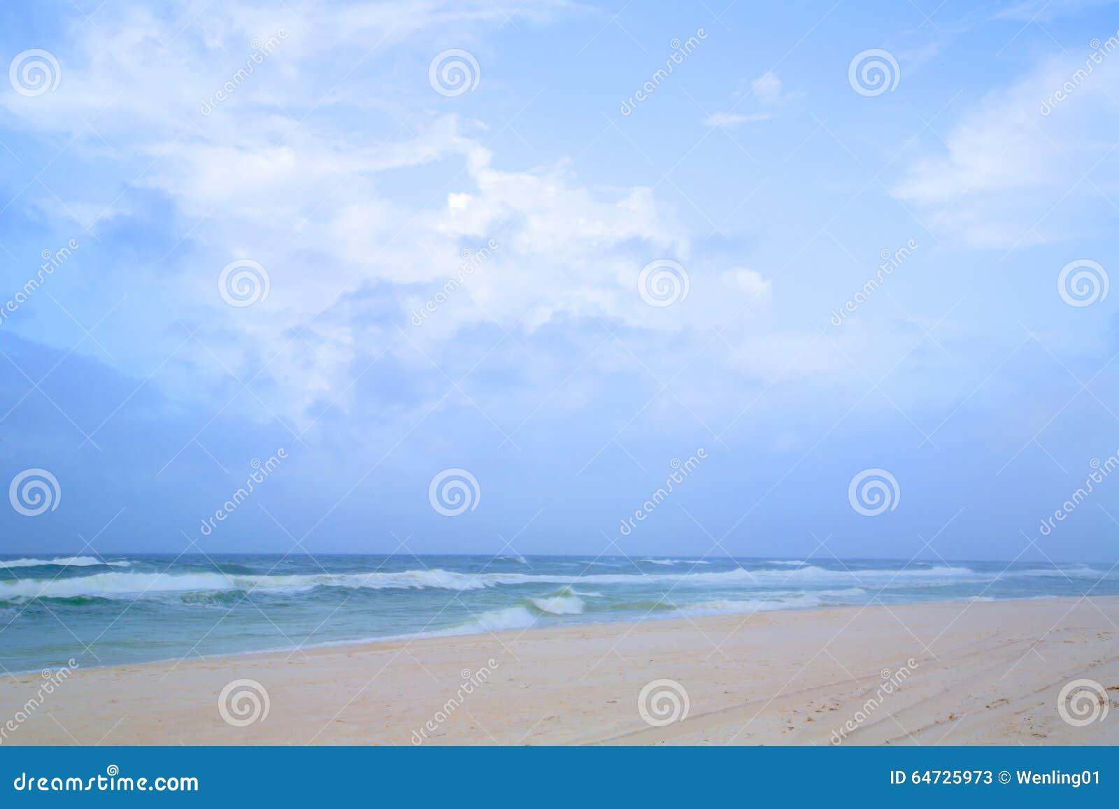 Mare del cielo blu e spiaggia sabbiosa