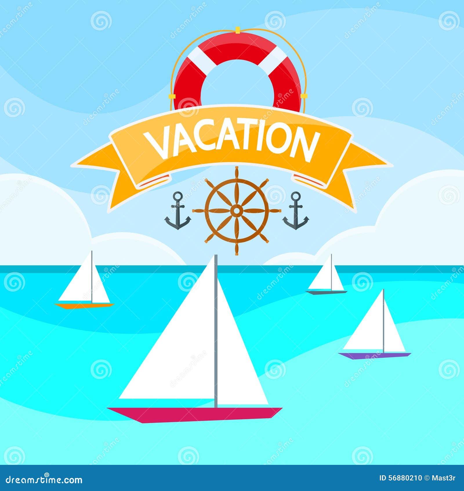 Mare del crogiolo di yacht della vela, navigante logo di vacanza dell oceano