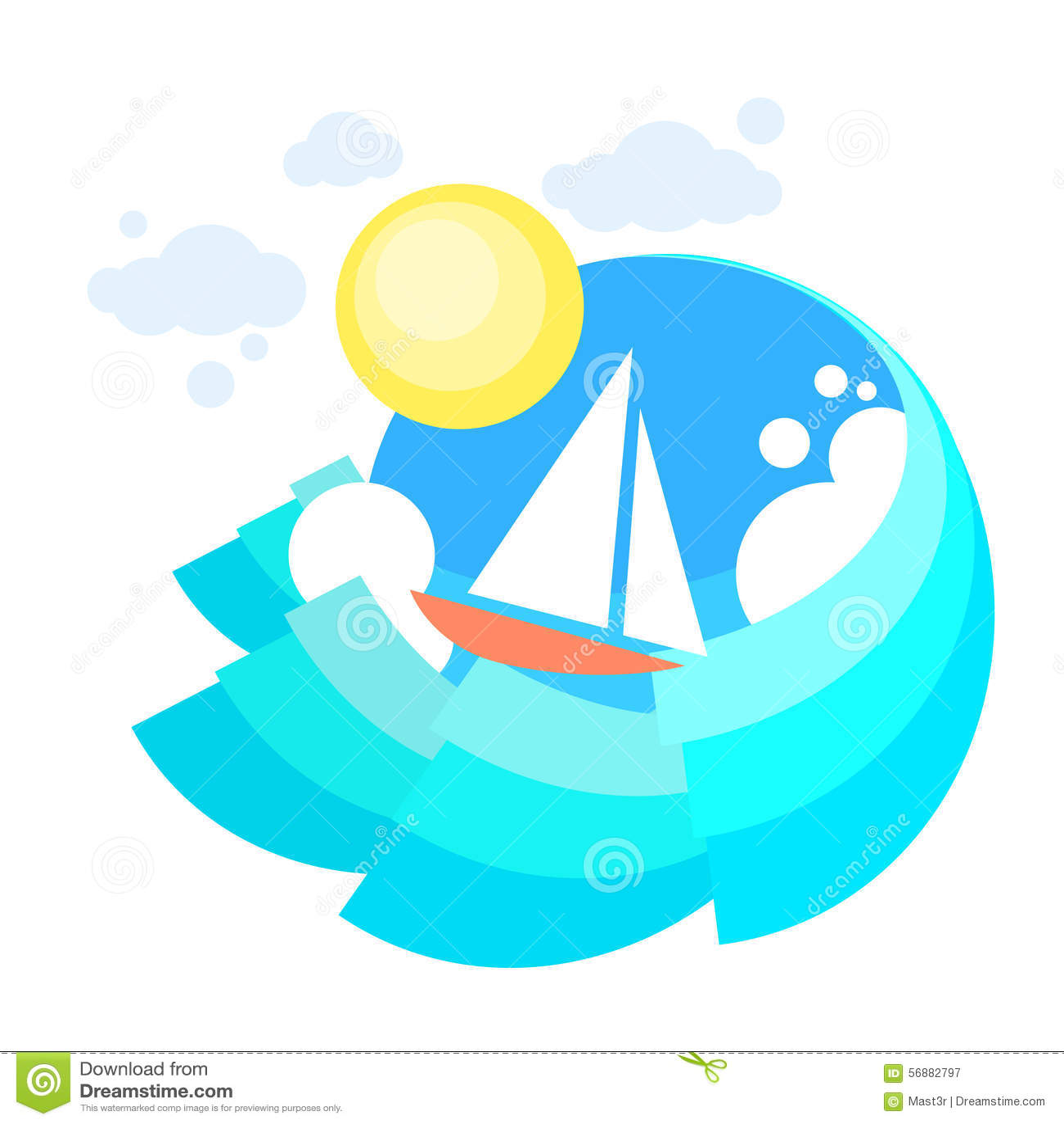 Mare del crogiolo di yacht della vela, oceano Vaction di navigazione dell icona