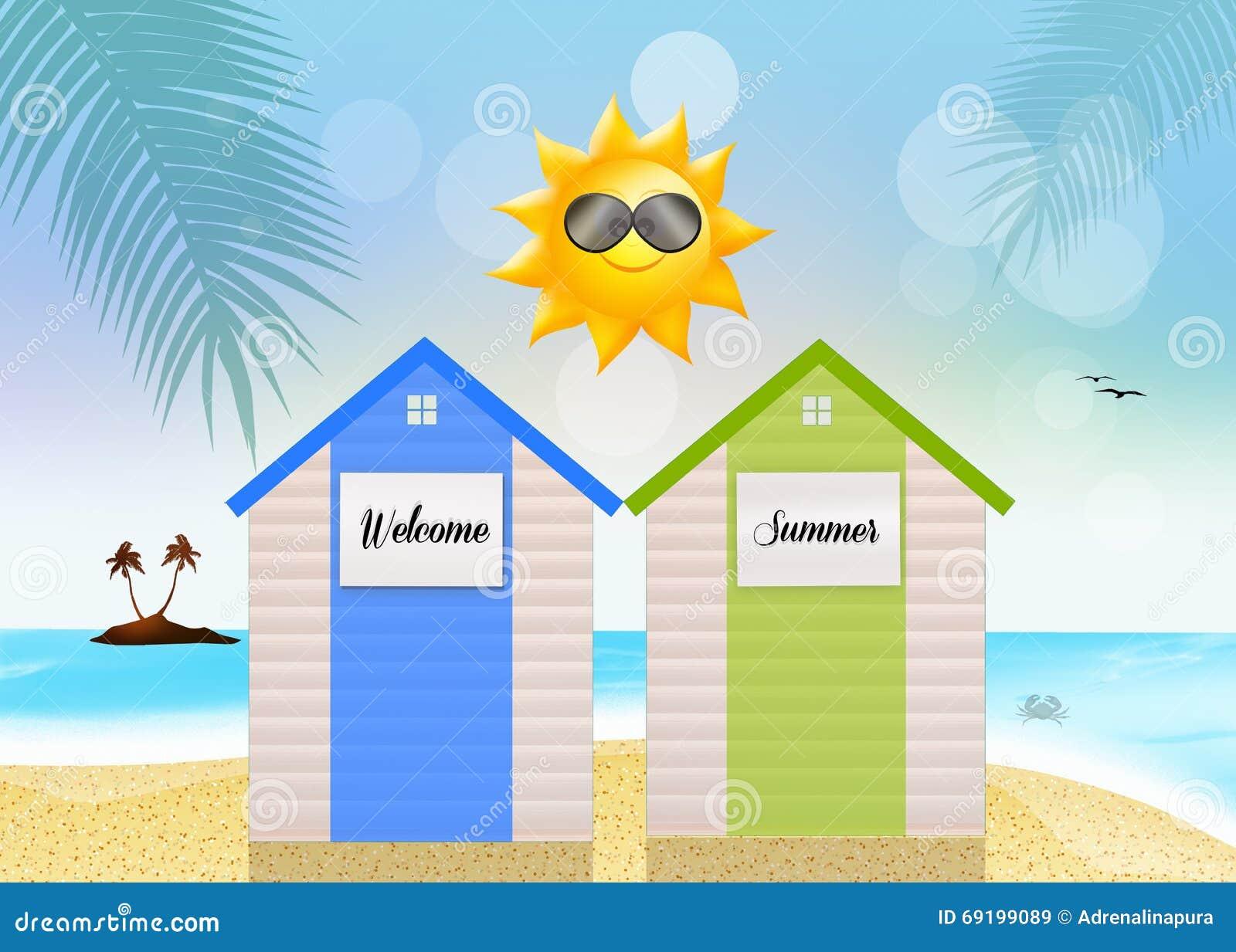 mare delle cabine di estate illustrazione di stock On maestà delle cabine del mare