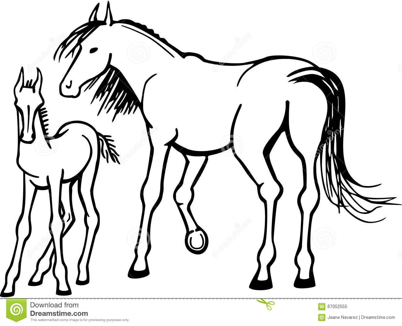 mare and foal stock vector illustration of hoofed tail 67052555 Billerica MA Re mare and foal
