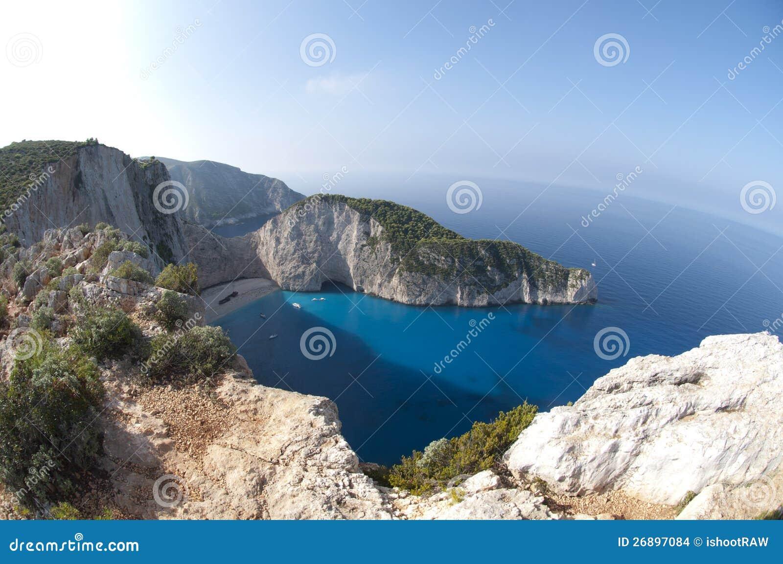 Mare ionico della spiaggia di Navagio