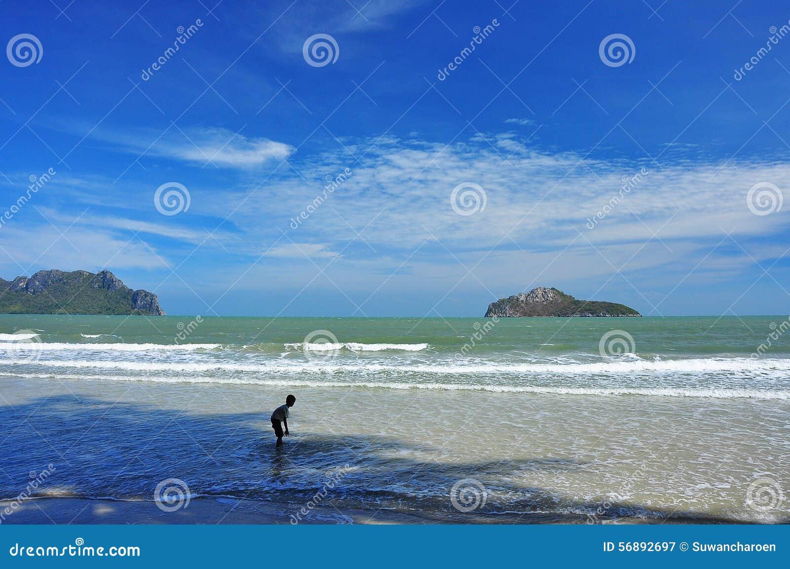 Mare verde con il cielo blu