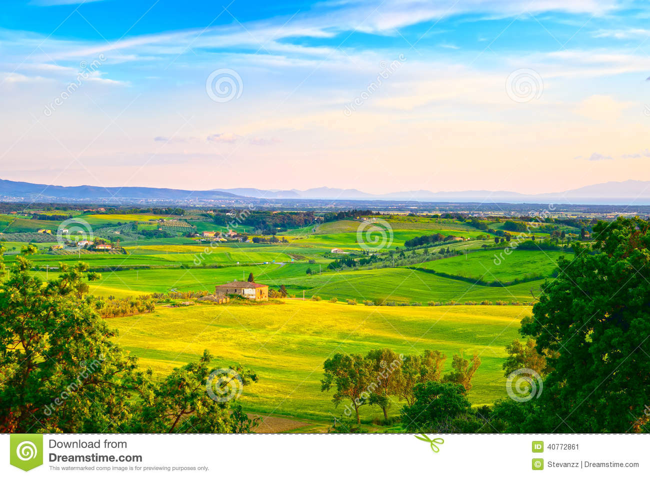 Maremma rural sunset landscape countryside old farm and for Green italy