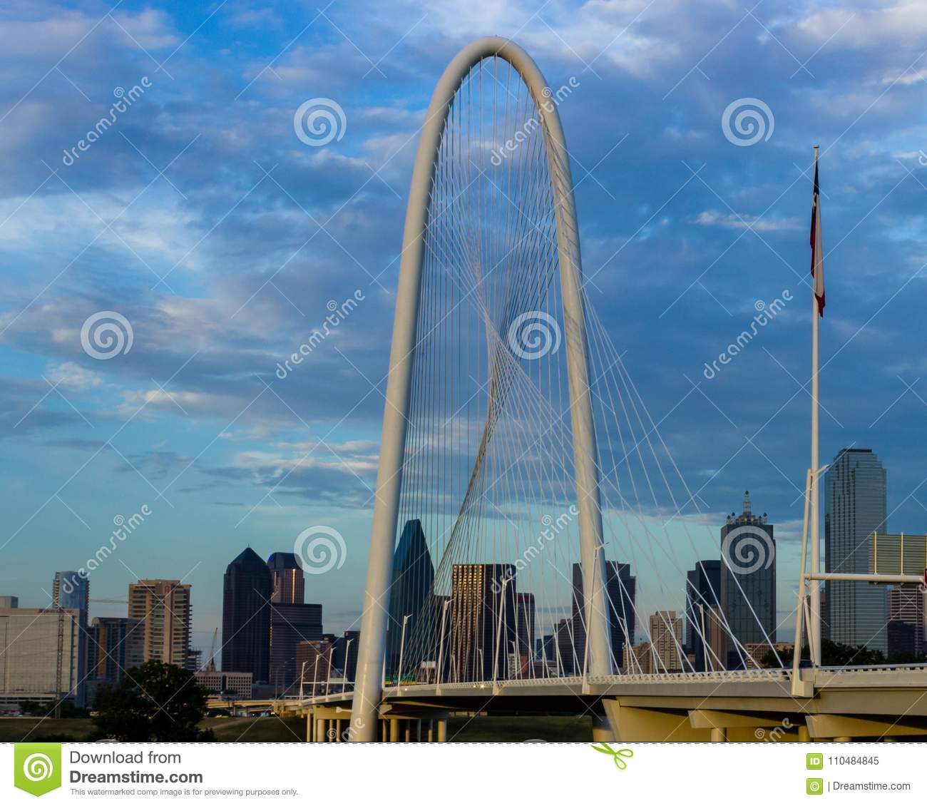 Margaret Hunt Hill Bridge with Dallas, Texas skyline in the back