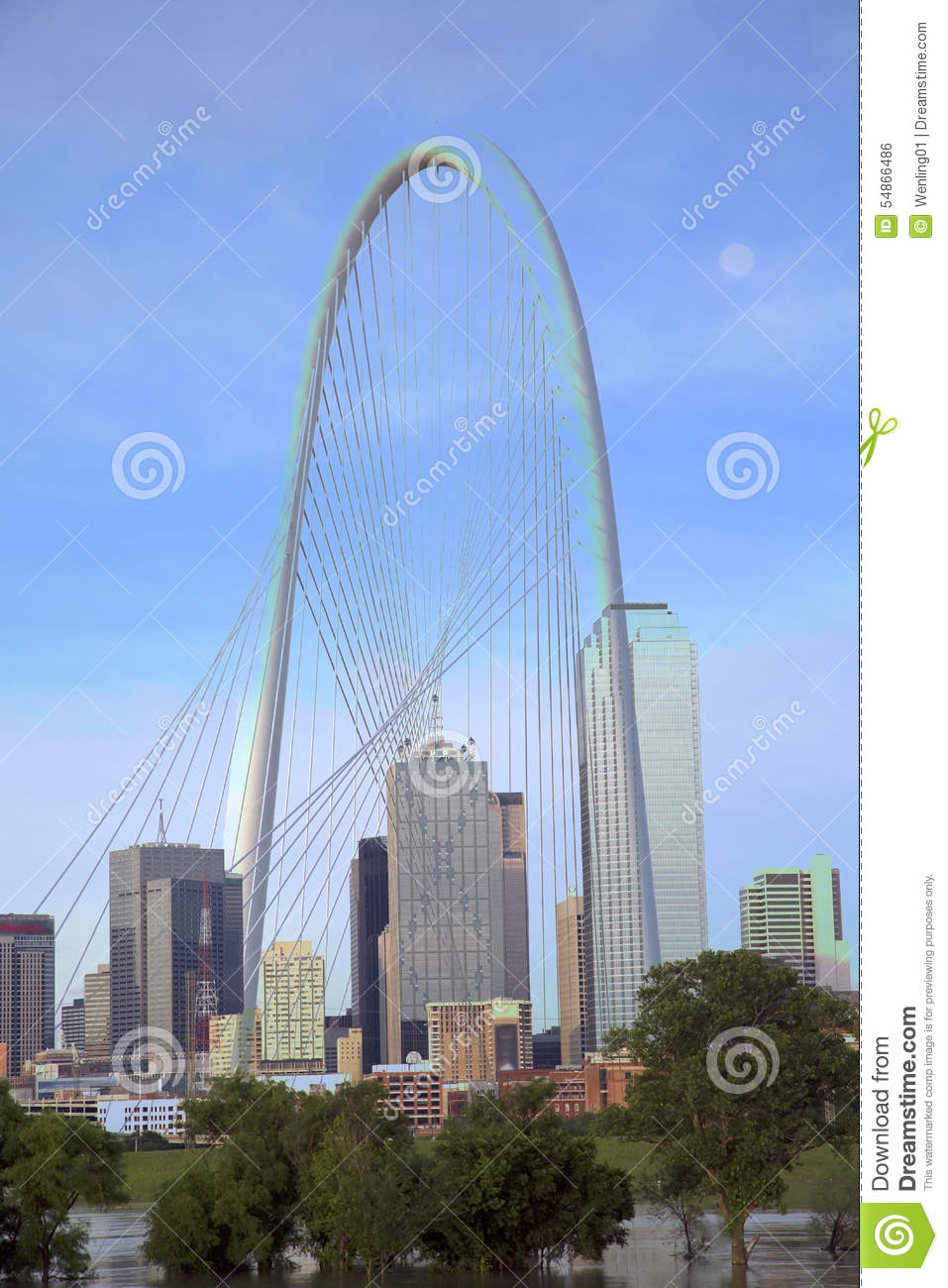 Bridge City (TX) United States  city images : Margaret Hunt Hill Bridge And Skyline In Dallas Editorial Photo ...