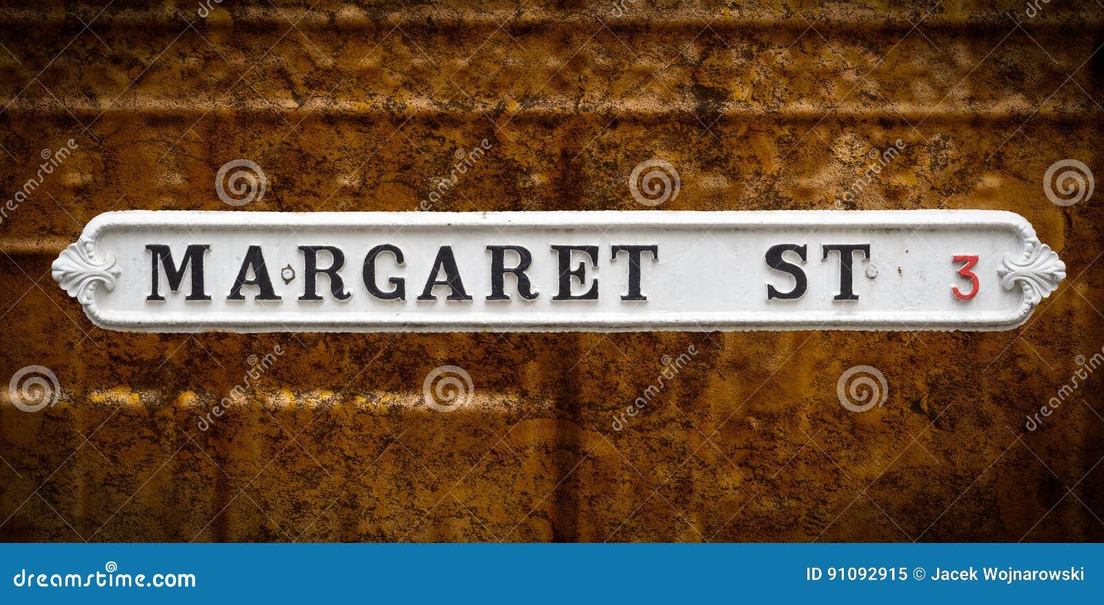 Margaret ulica Brytyjski rocznika znaki uliczni