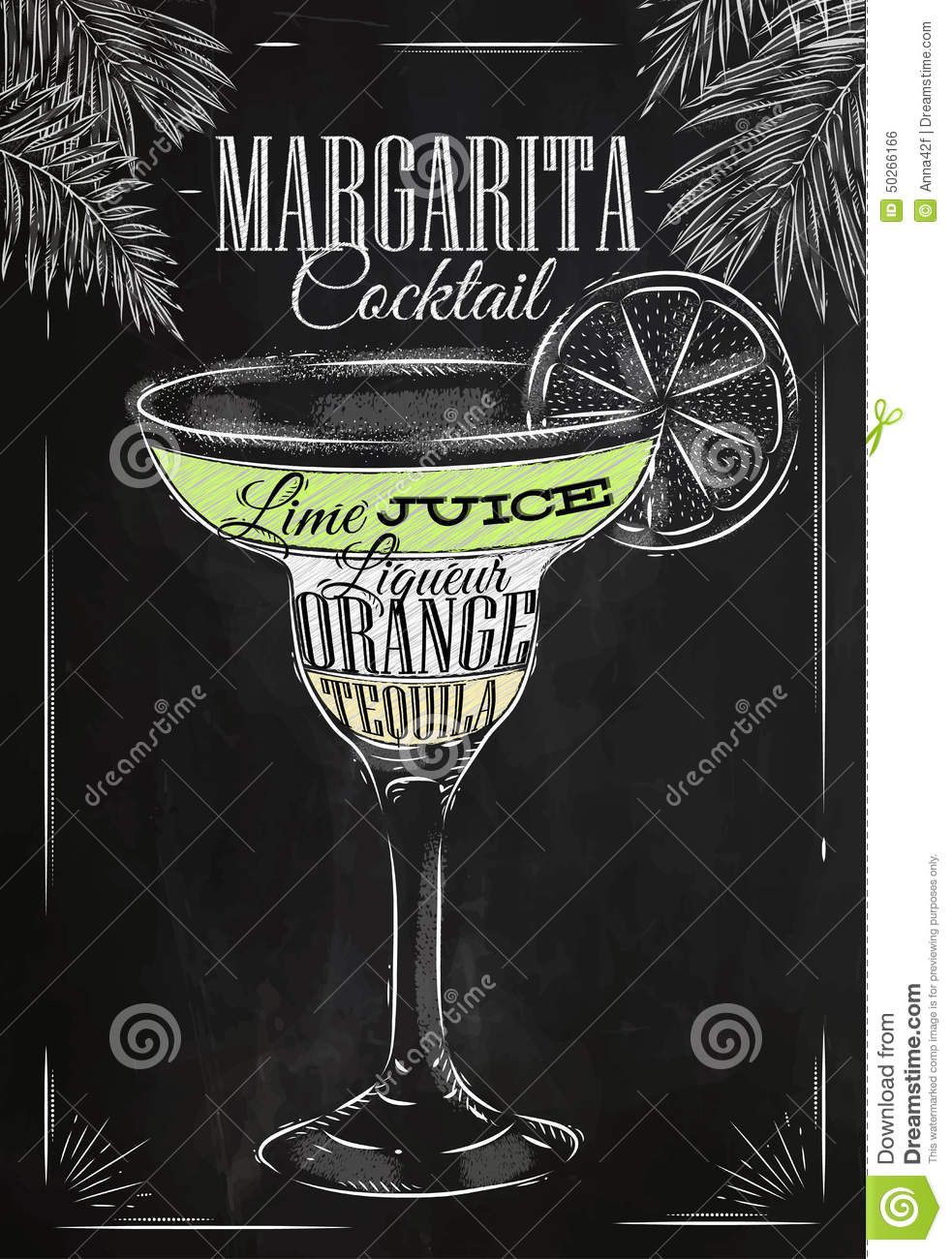 Margarita cocktail chalk stock vector image of concept - Margarita coctel ...