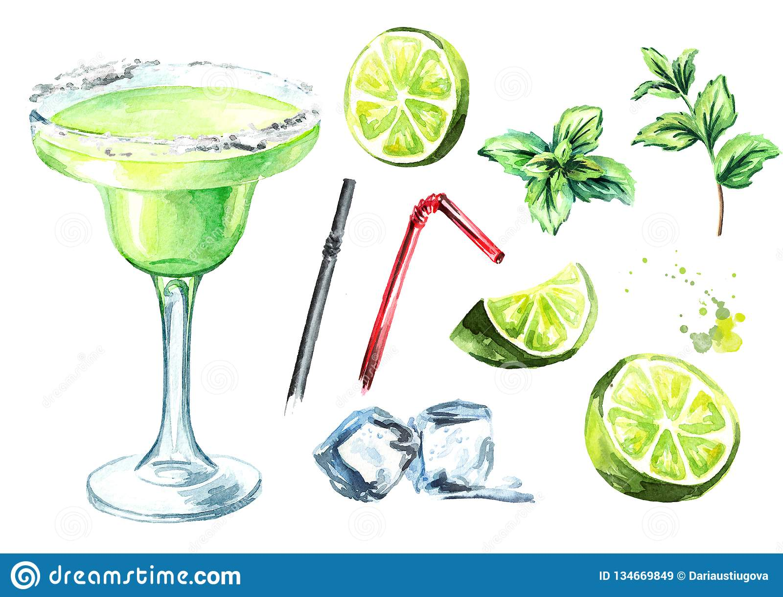 Margarita cocktail with decor elements lime, mint and ice cubes. Watercolor hand drawn illustration, isolated on white background