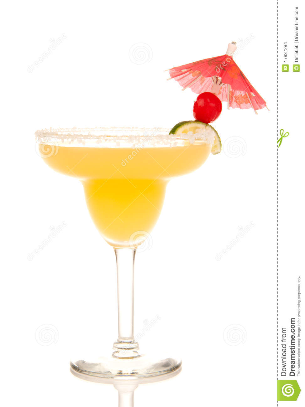 Margarita Cocktail With Lime Cherry Umbrella Stock Photo