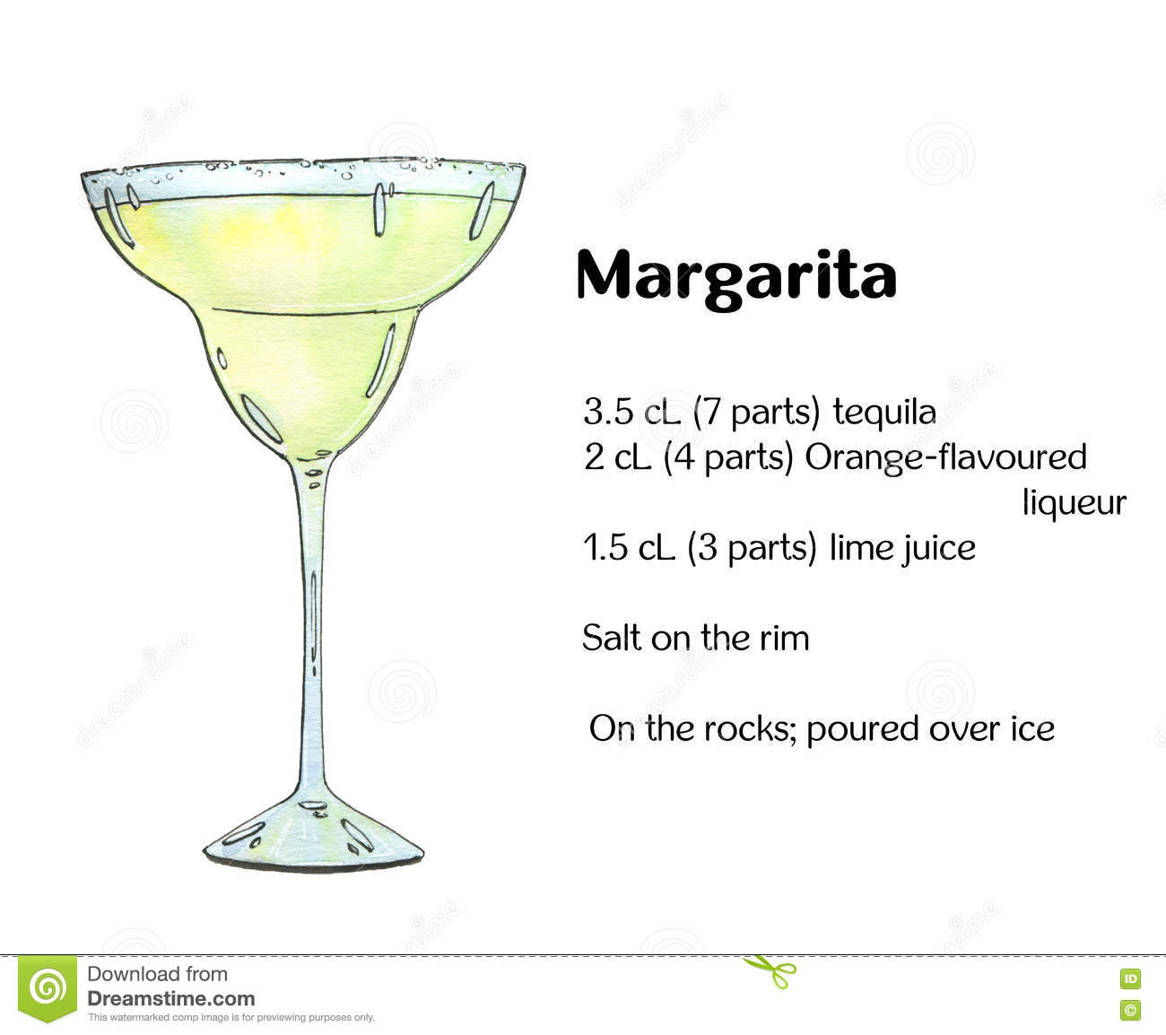 Margarita disegnata a mano del cocktail dell acquerello