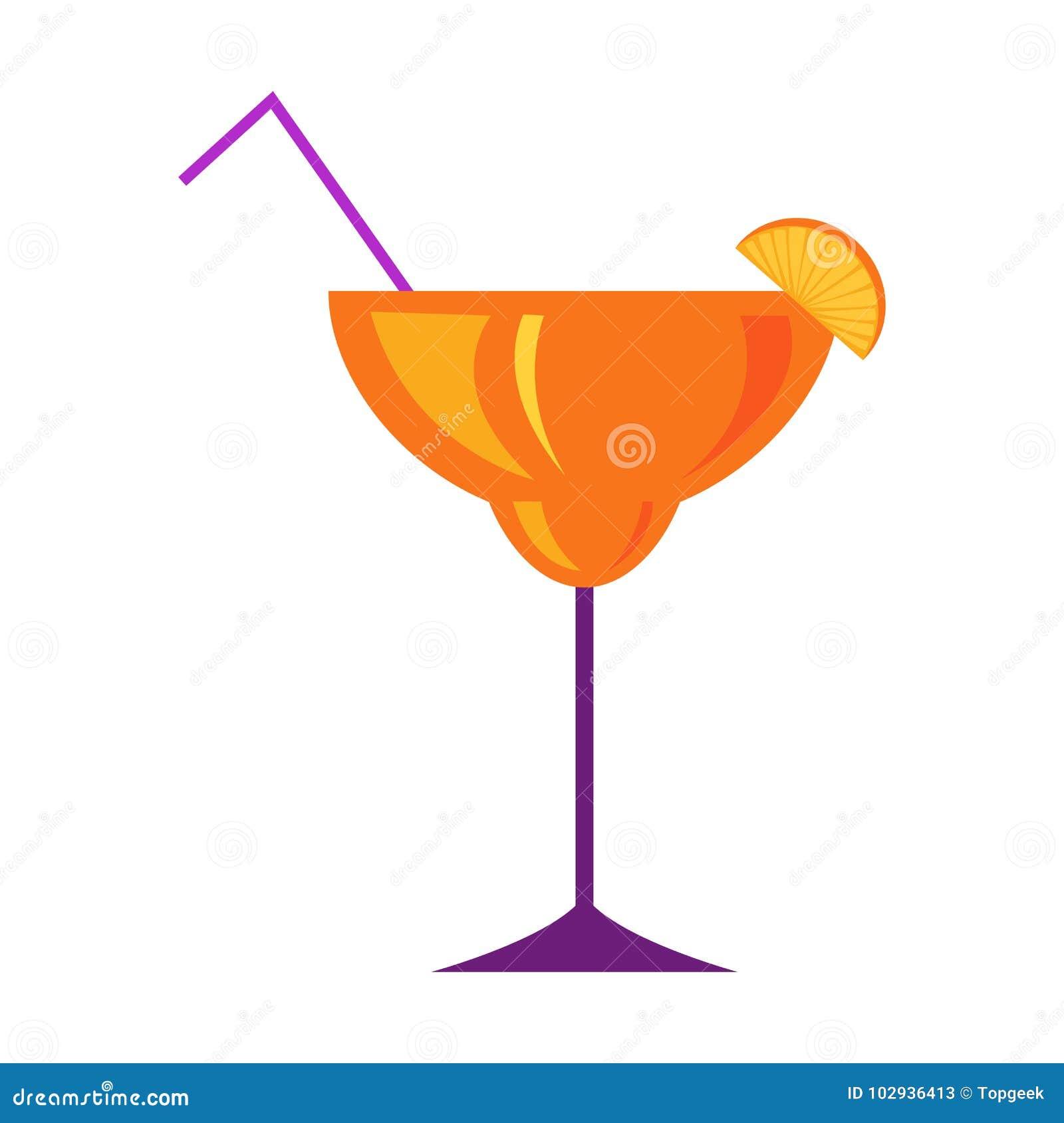 Margarita Glass avec le vecteur plat de cocktail d agrume