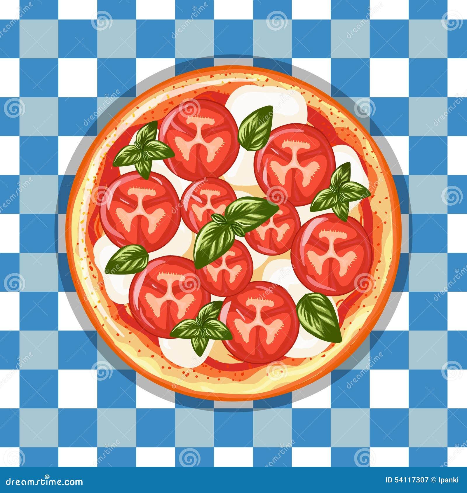 Margarita italienne de pizza avec les tomates, le fromage et le basilic Tiré par la main