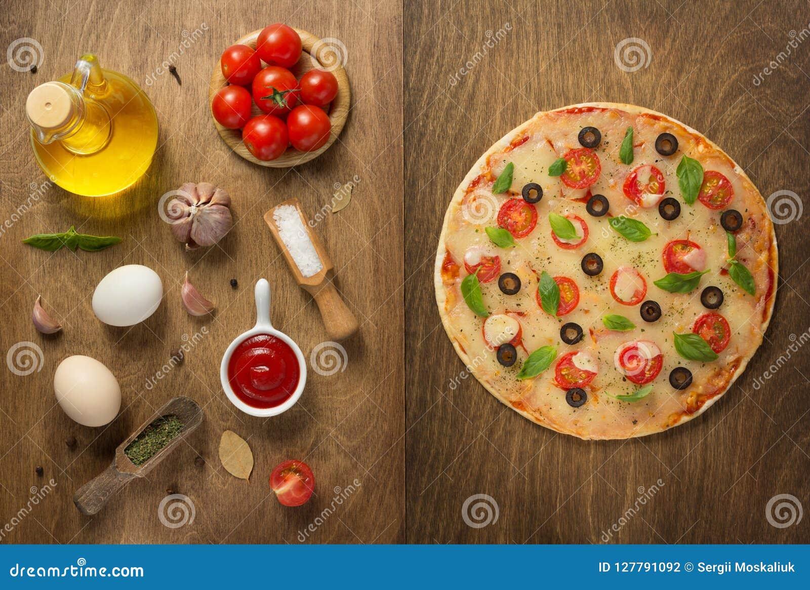Margarita pizza and food ingredients