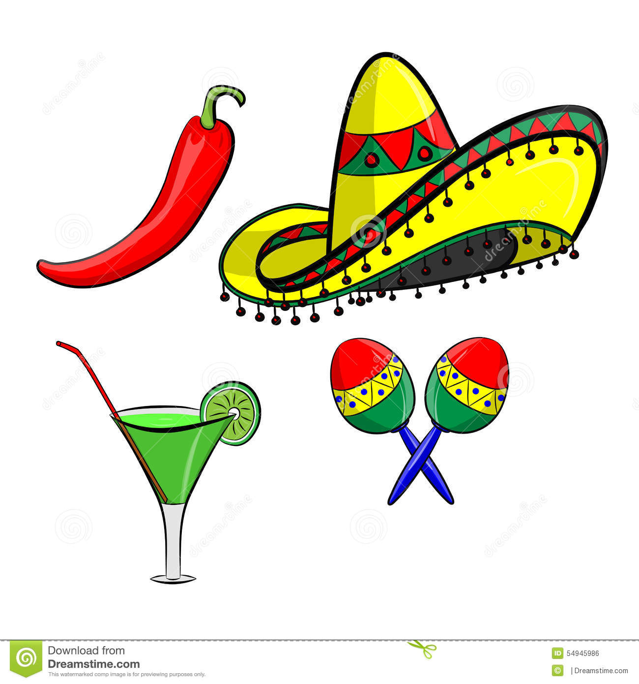 Margarita with sombrero, jalapeno and maracas EPS 10 vector, grouped ...