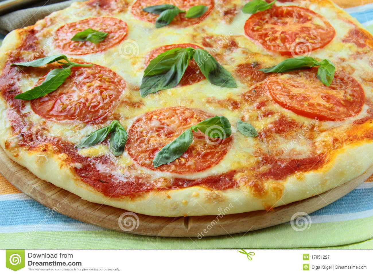 Margaritta Pizza With Tomatoes And Basil Cheese Royalty Free Stock ...