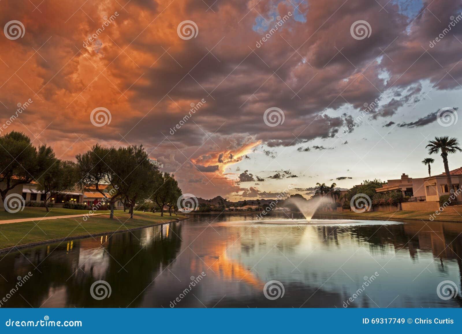 Marguerite lake in scottsdale arizona at sunset stock for Fishing license az price
