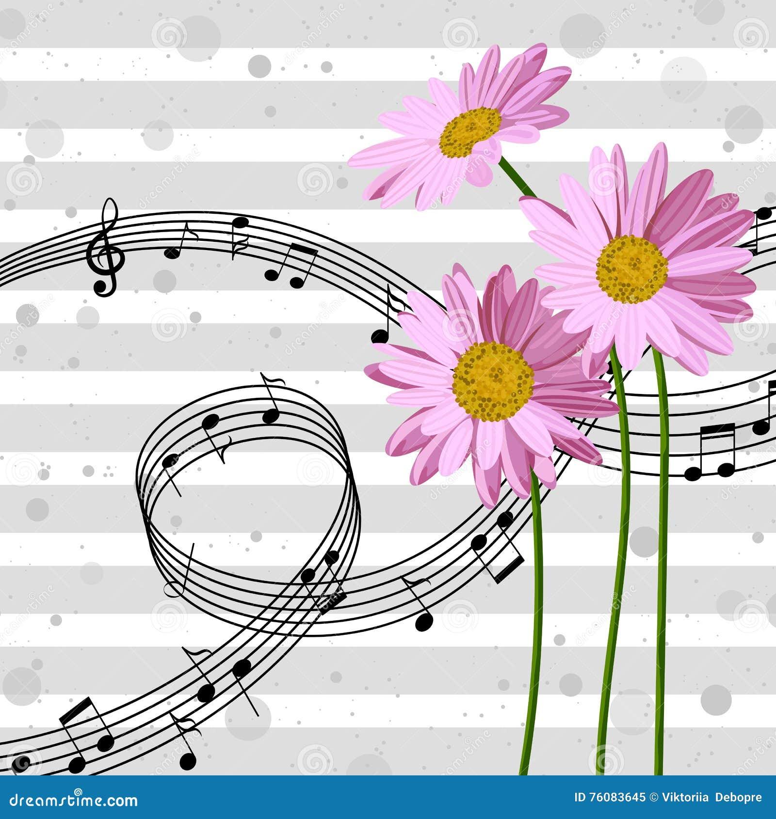 Marguerites avec des notes de musique