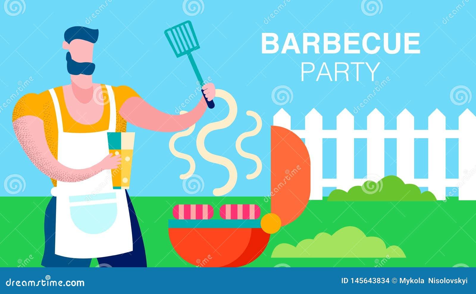 Mari préparant le calibre de bannière de casse-croûte de barbecue