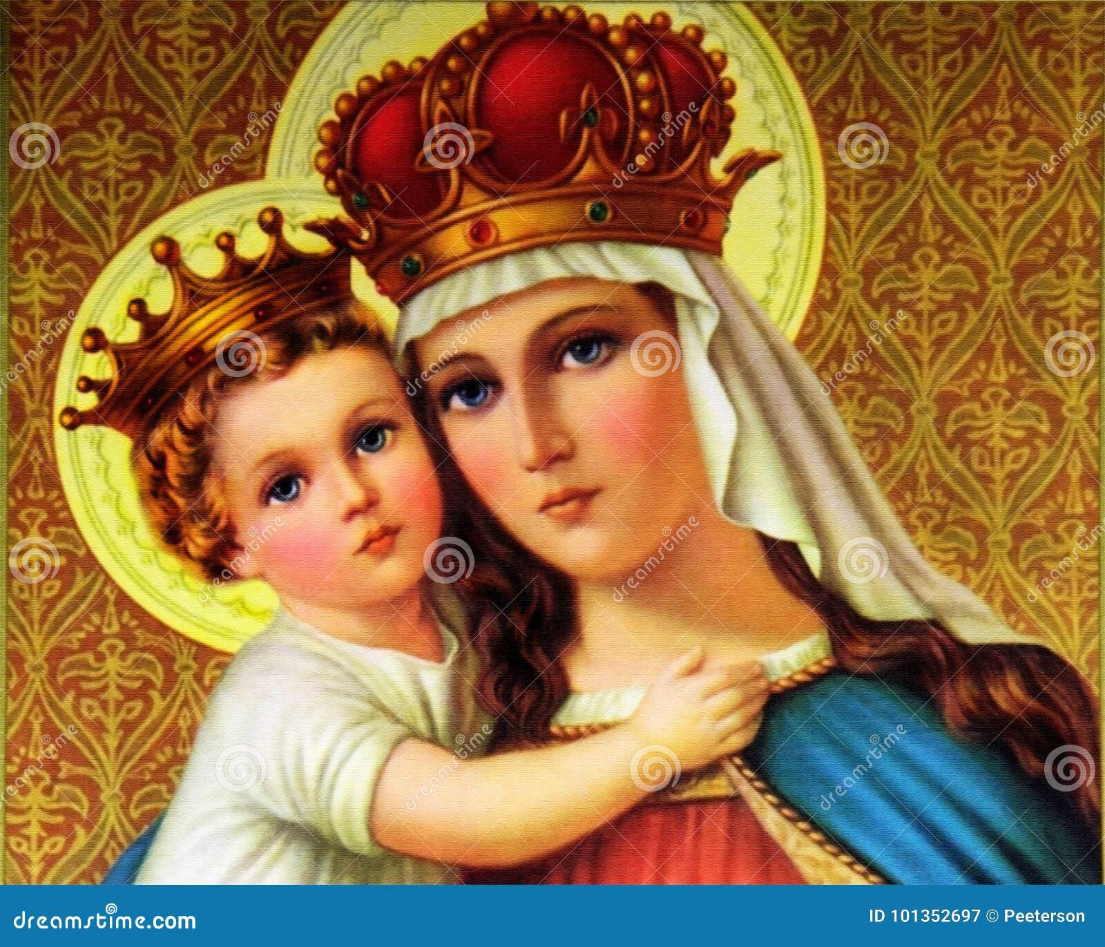 Maria bendecida con el niño Jesús