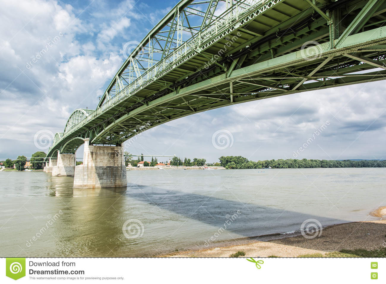 Maria Valeria bridge from Esztergom, Hungary to Sturovo, Slovakia, architectural scene