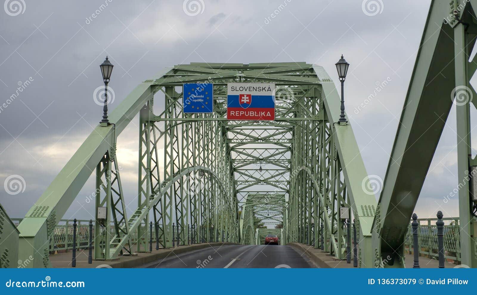 The Maria Valeria bridge joining Esztergom in Hungary and Sturovo in Slovakia, across the River Danube