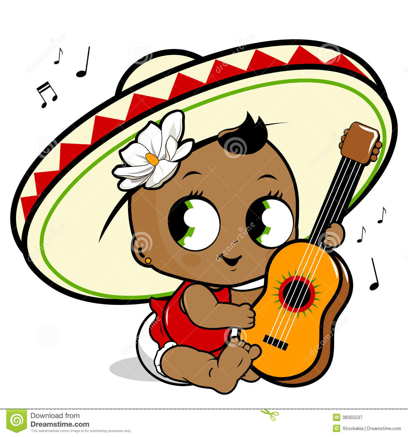 Mariachi Baby Girl Playing The Guitar Stock Vector Illustration Of