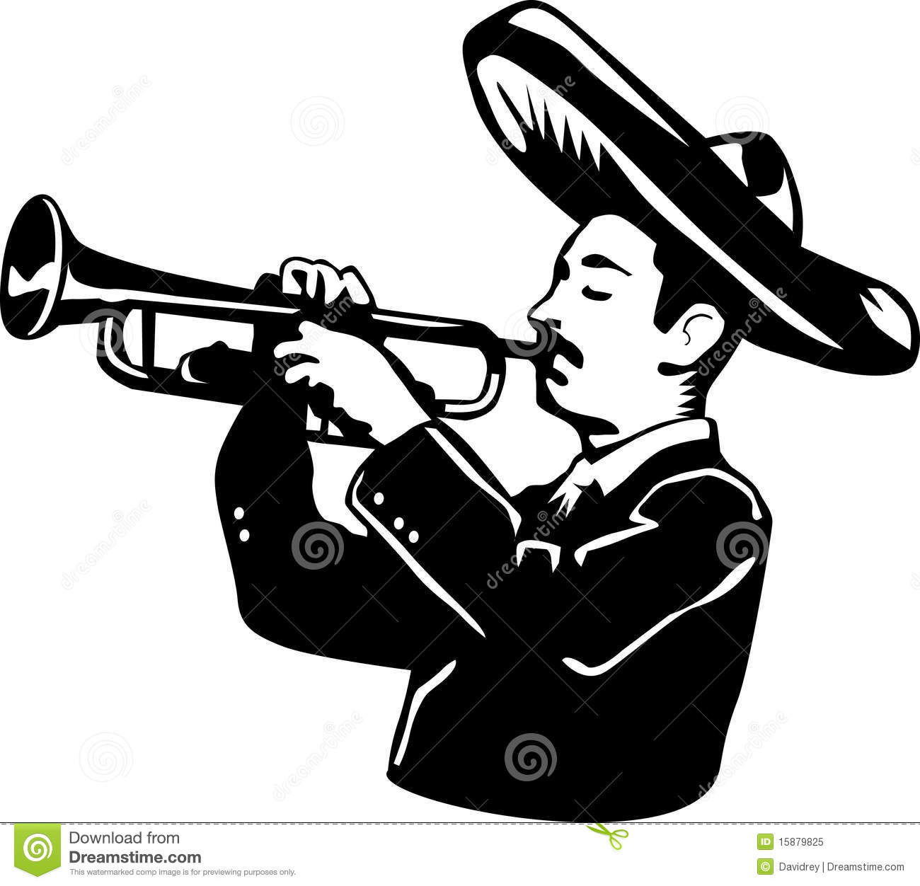 Mariachi Cartoon Playing Trumpet Royalty Free Stock Photo - Image ...