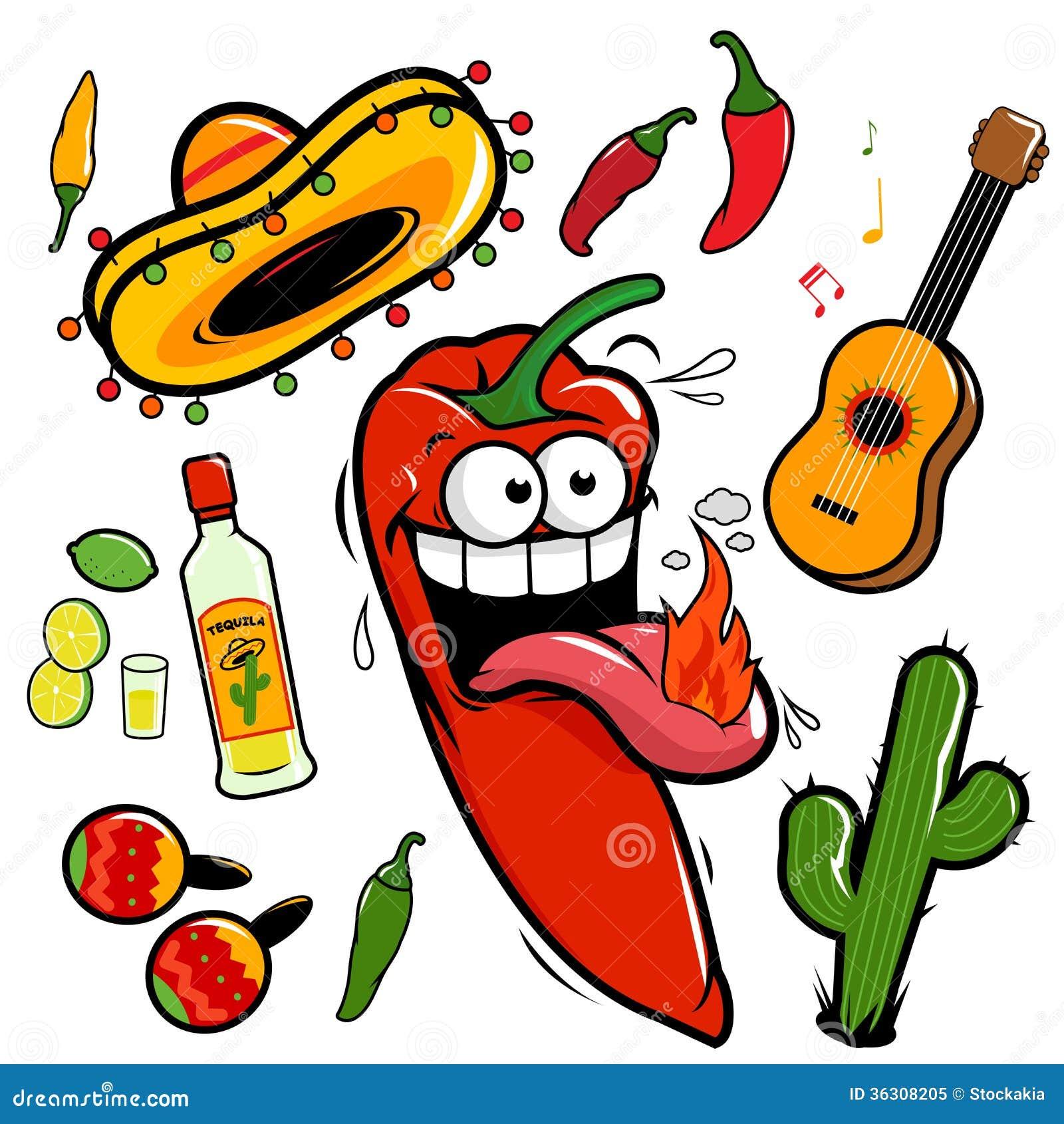 Mariachi chili pepper mexican icon collection