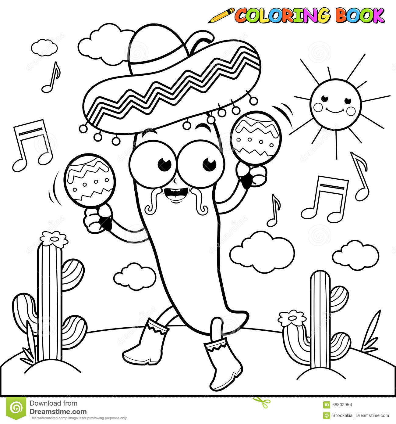mariachi chilli pepper with maracas coloring page