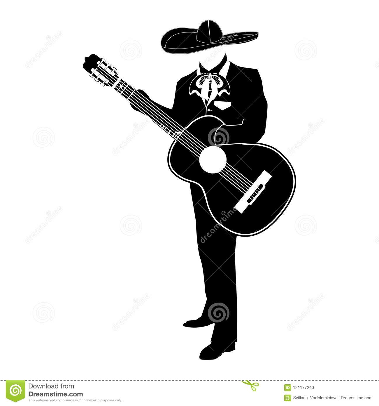 Mariachi musician with guitar in mariachi traditional costume and sombrero.  Vector black template on white background. 6082b05a0e6