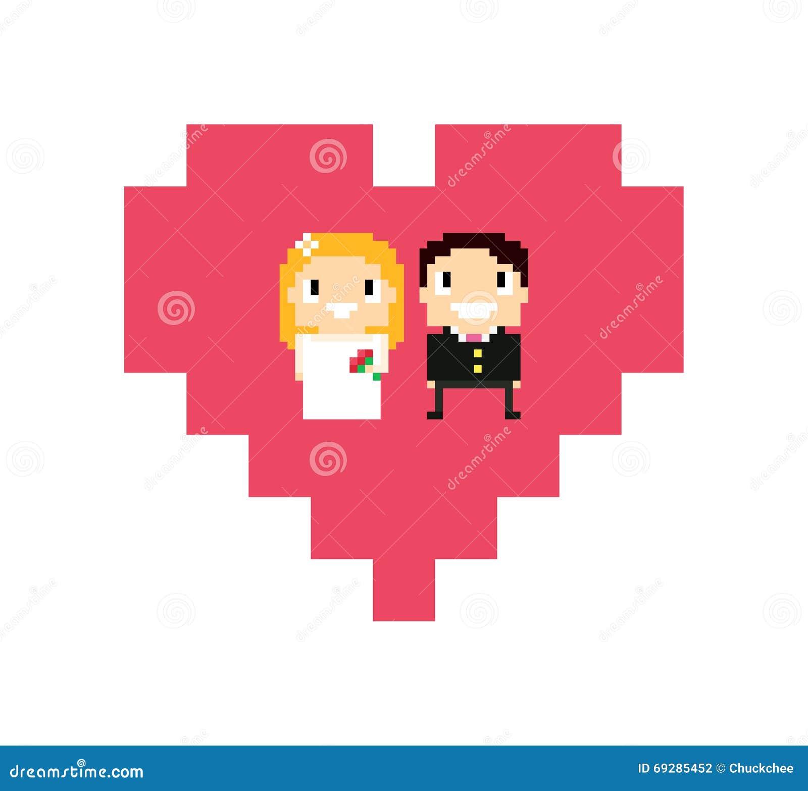 Mariage De Pixel Illustration Stock Illustration Du Fille