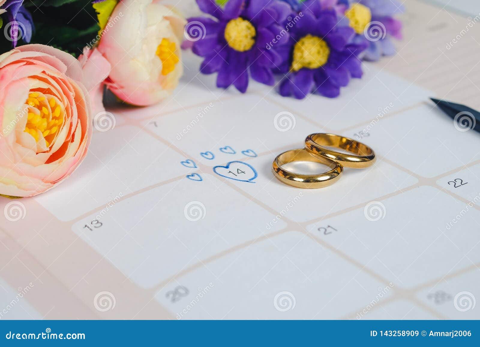 Mariage de Word au jour du mariage de rappel avec l anneau de mariage sur le calendrier