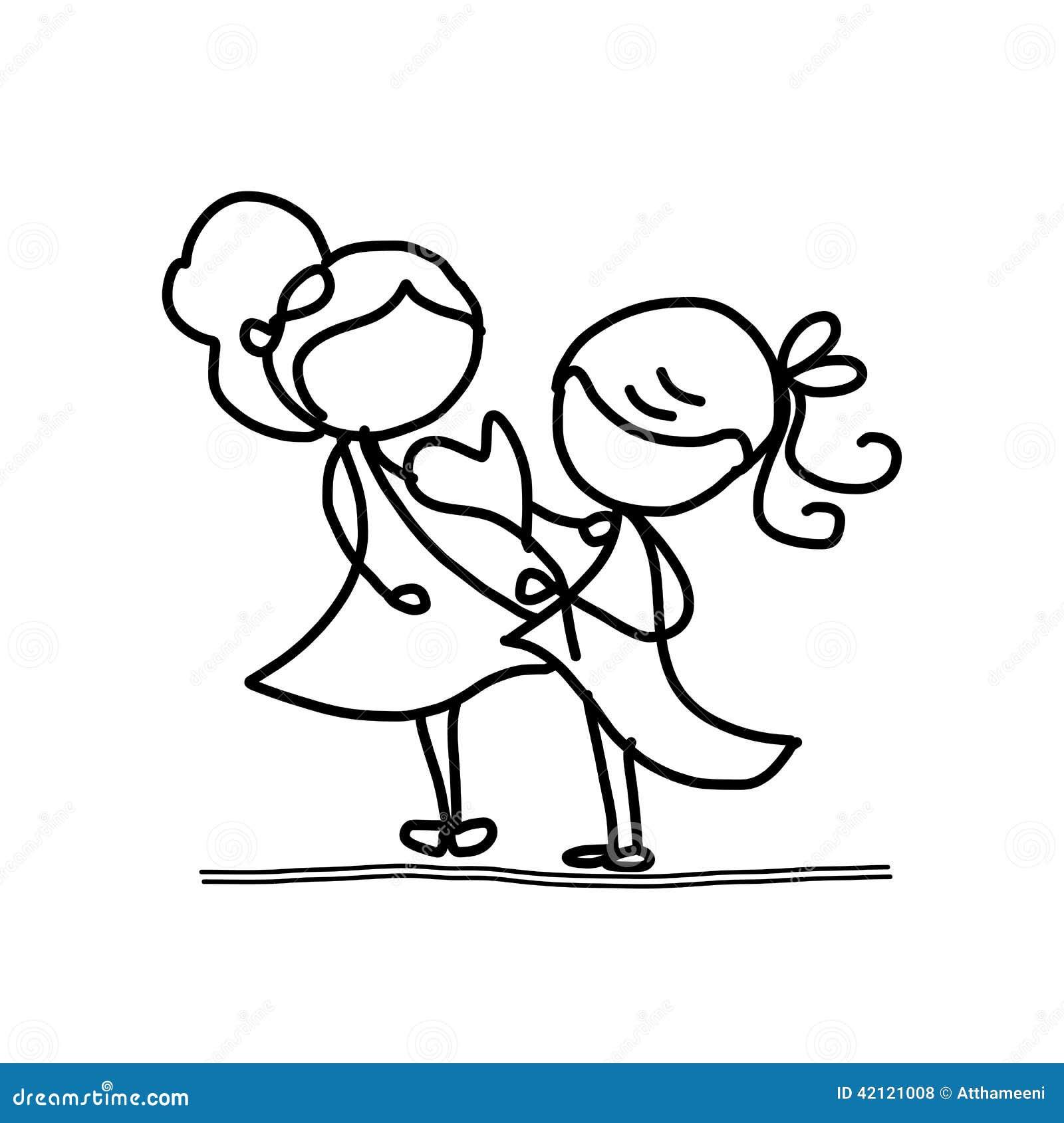 Mariage Heureux De Couples De Bande Dessinée De Dessin De