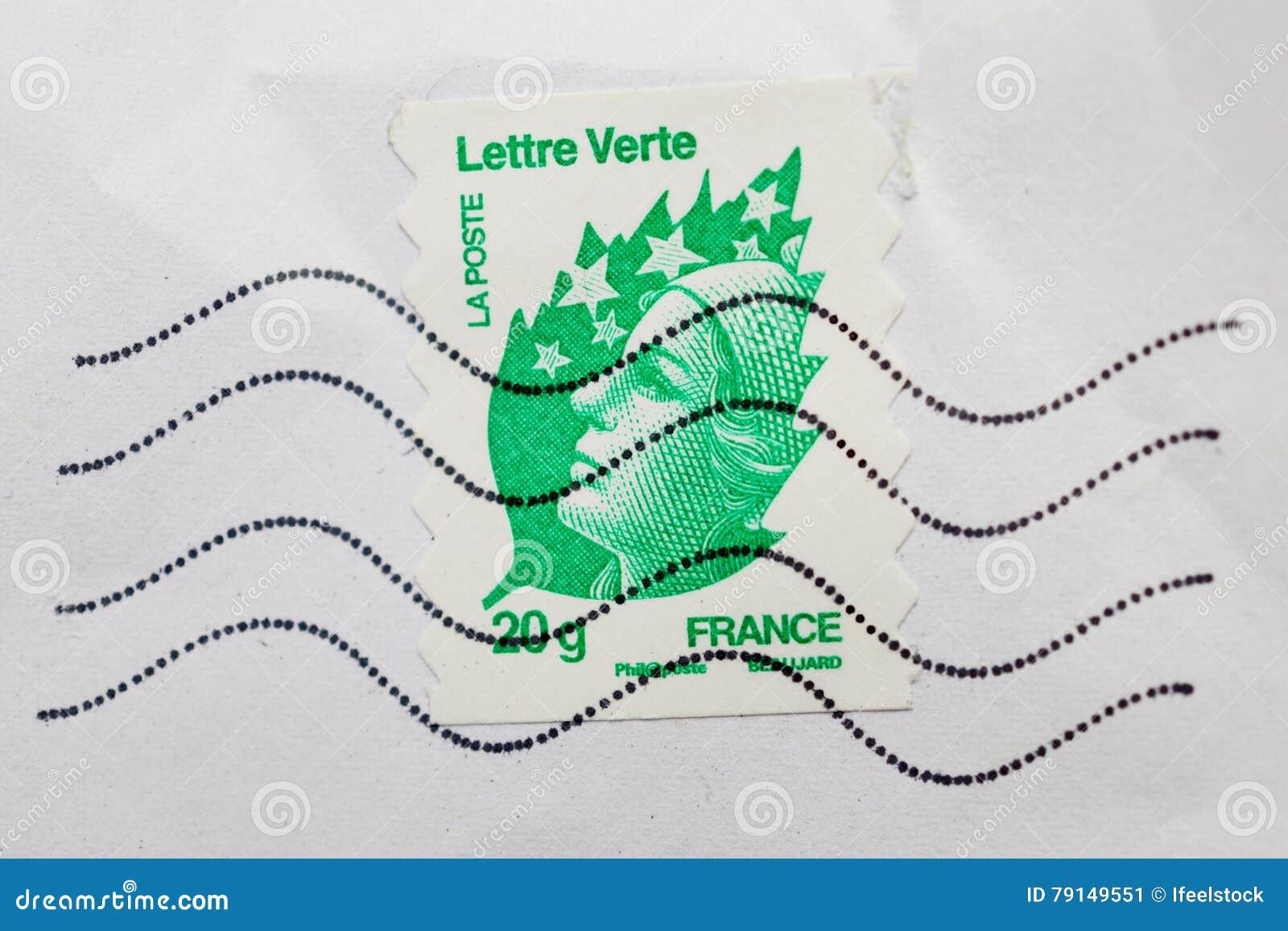 Marianne National Symbol Of France On Lettre Verte From La Post