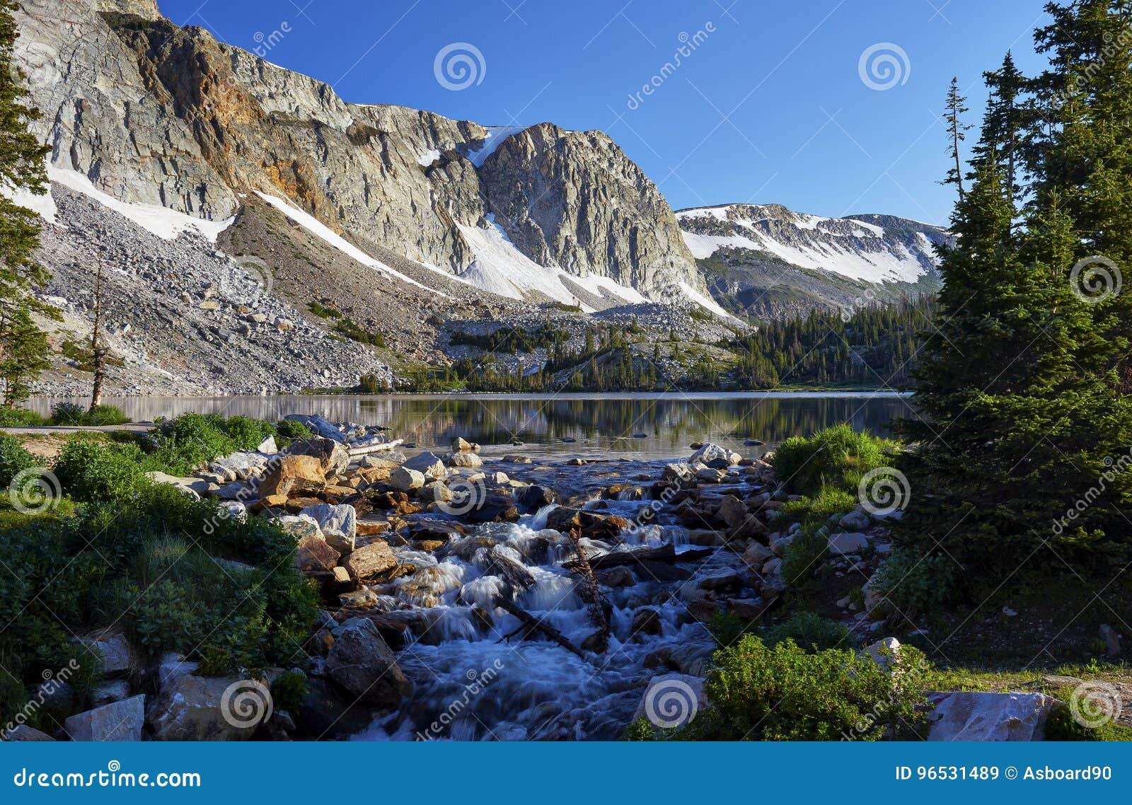 Marie Lake, Snowy Range, Wyoming Stock Image - Image of