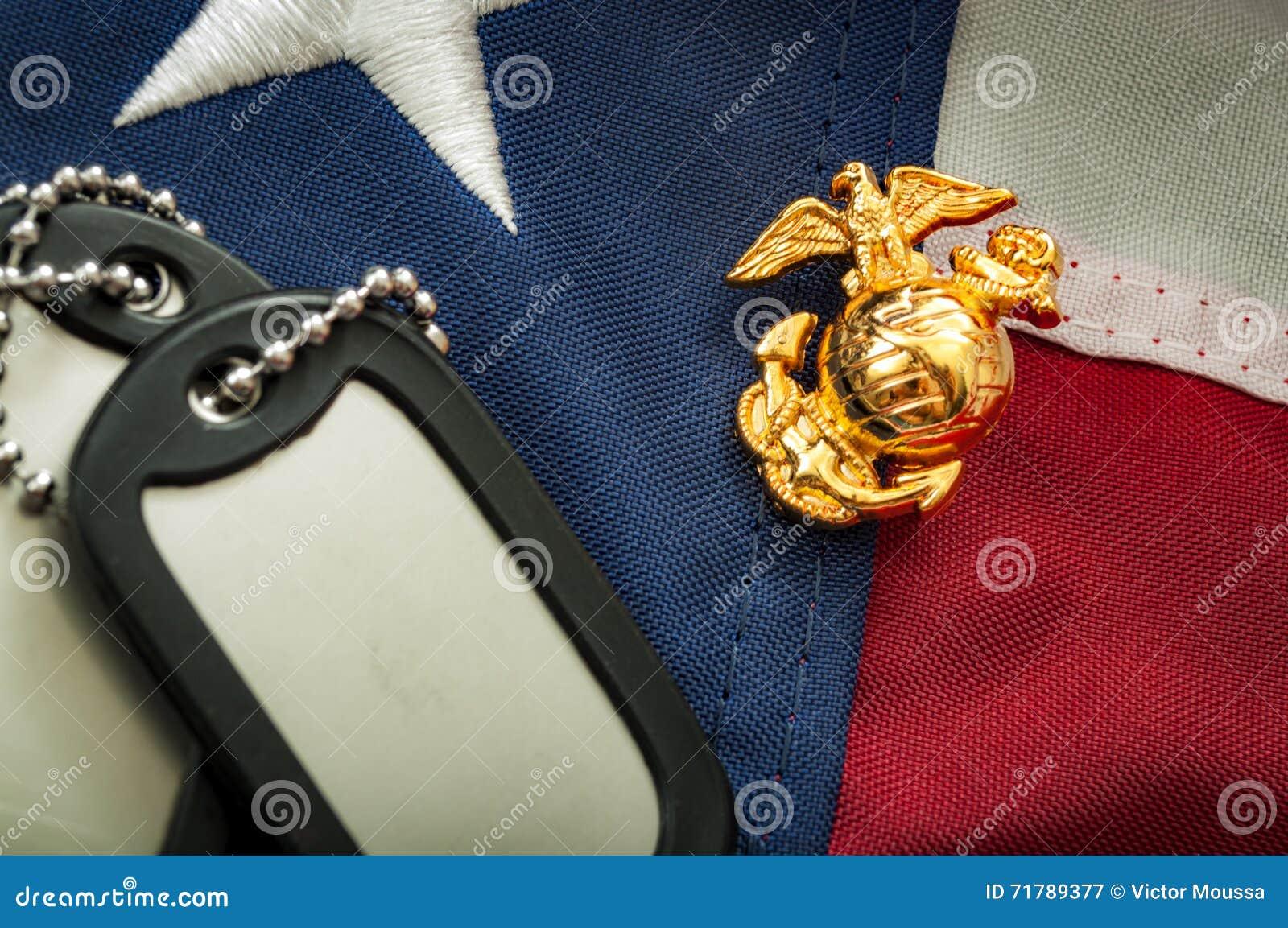 Marien de korpsenembleem van de V.S., militaire hondmarkeringen en de Amerikaanse vlag