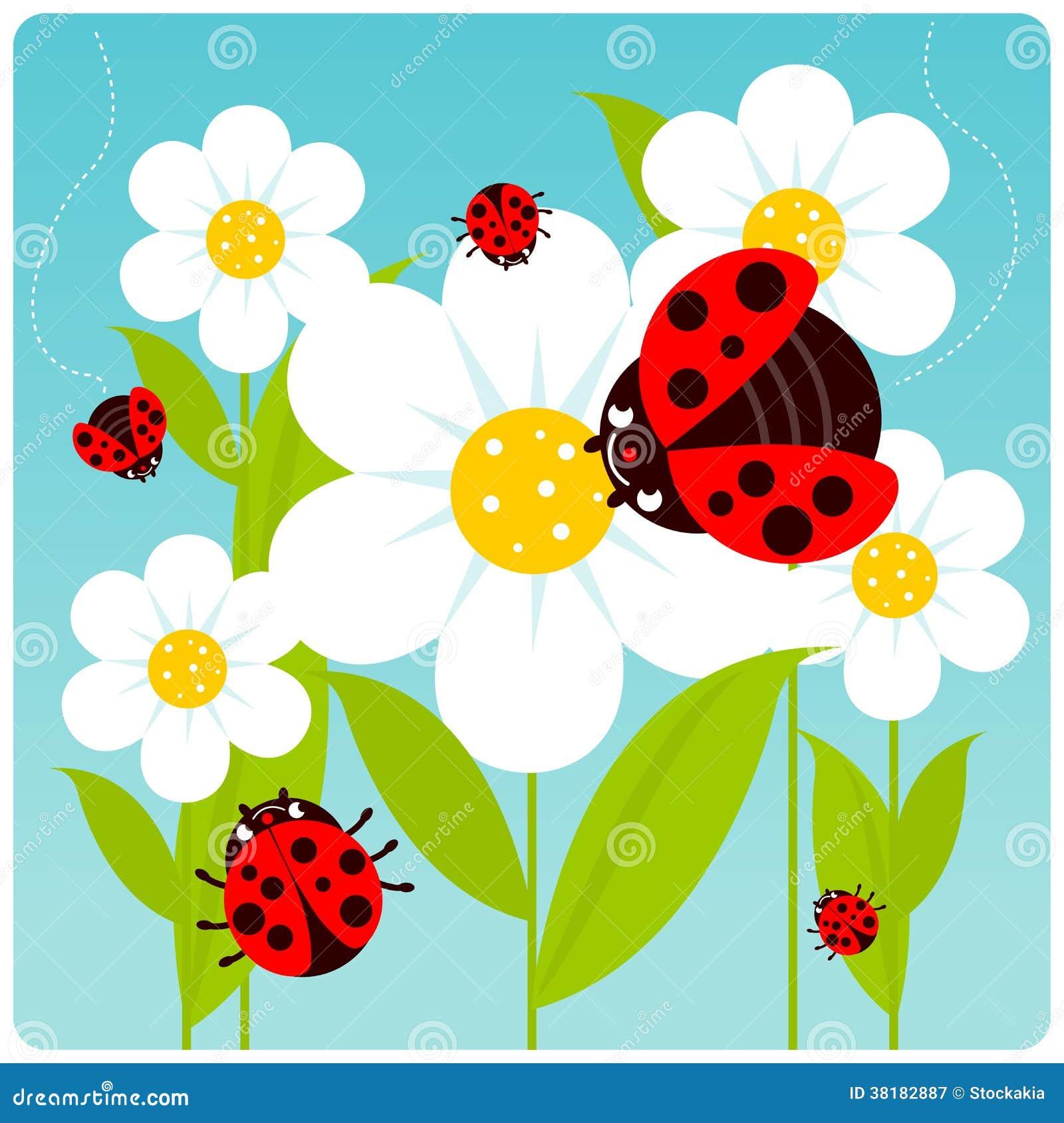 Marienk fer und blumen lizenzfreie stockfotografie bild for Blumen fliegen