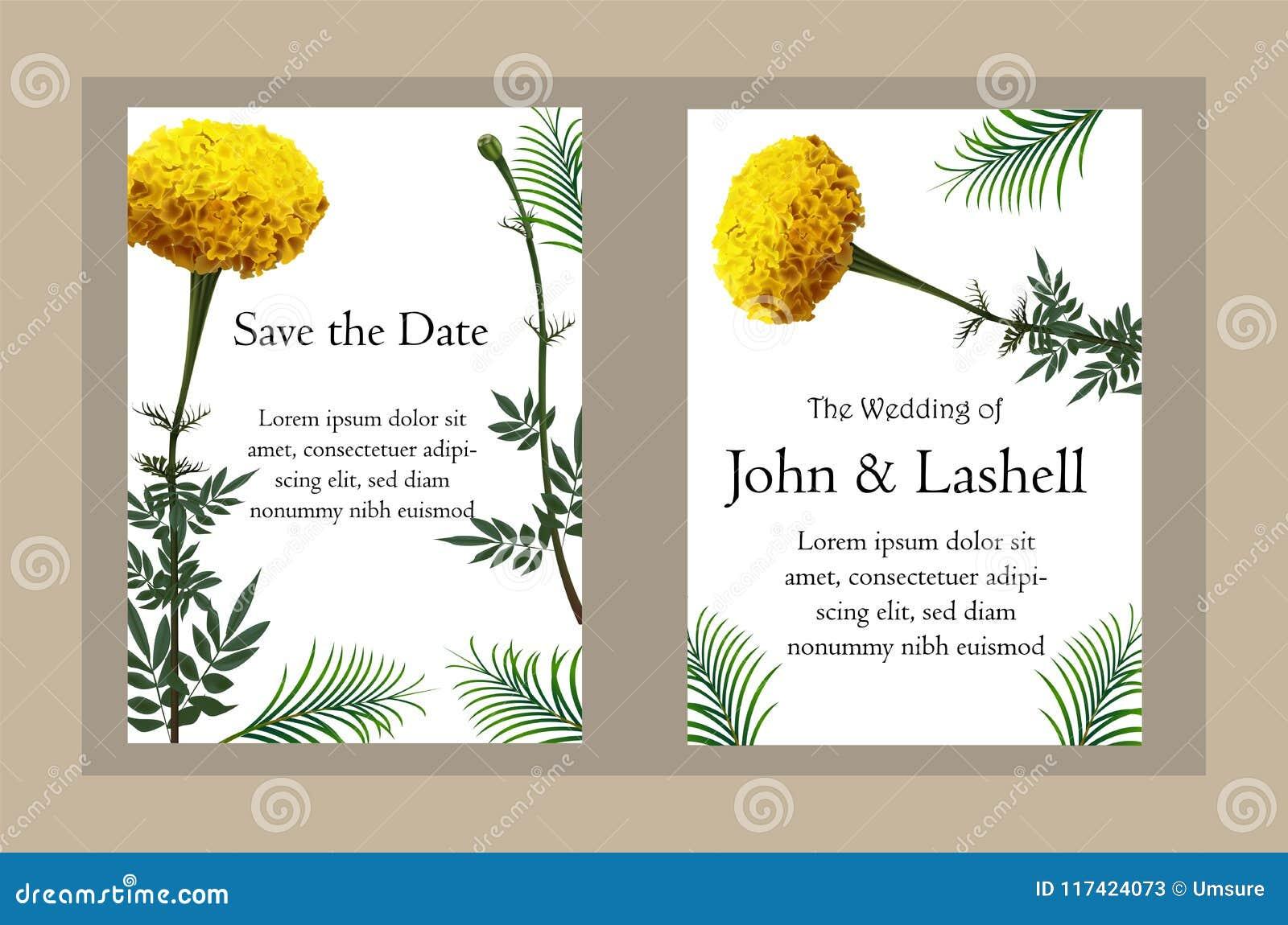 Marigold ρεαλιστική διανυσματική απεικόνιση λουλουδιών στην κάρτα πρόσκλησης