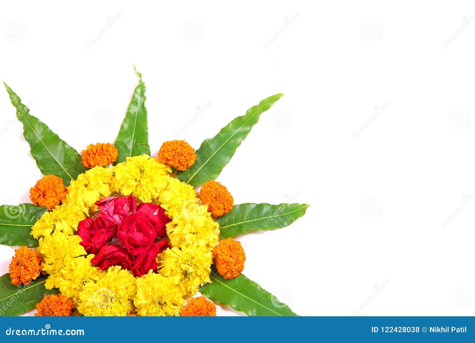 Marigold Flower Design Marigold Flower Rangoli Design Stock Photo