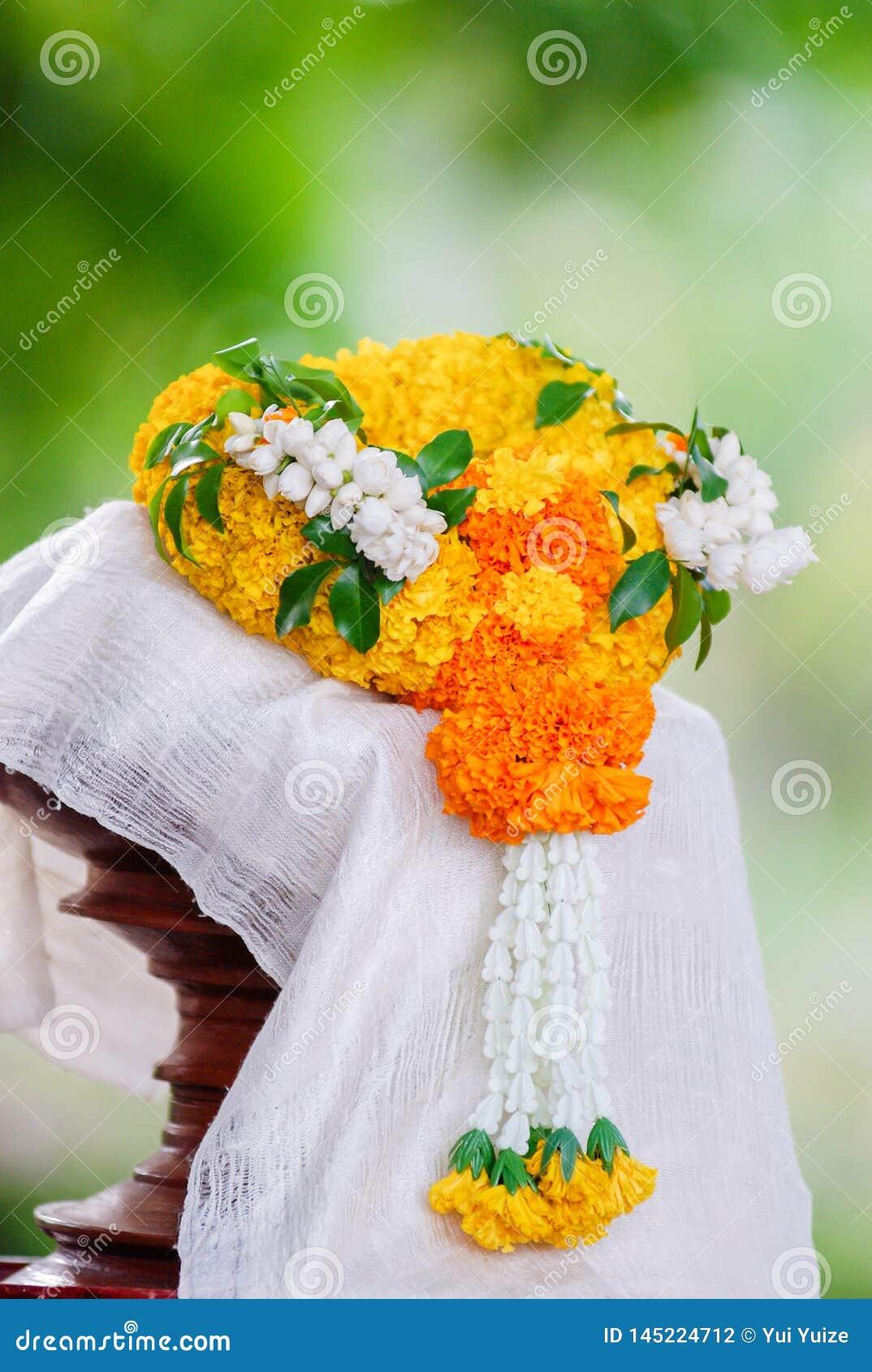 Marigold garland handcraft flowers.