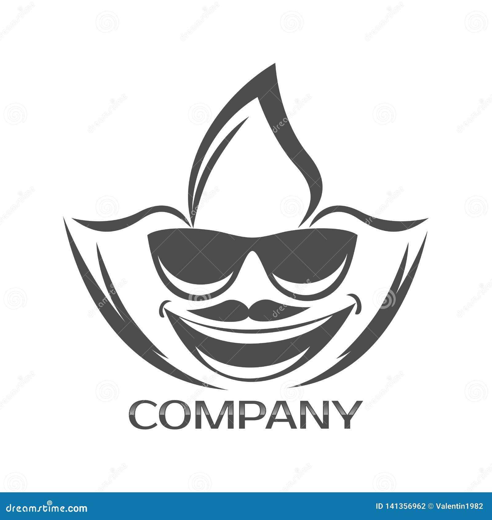 Marihuana mężczyzny i liścia twarzy logo również zwrócić corel ilustracji wektora