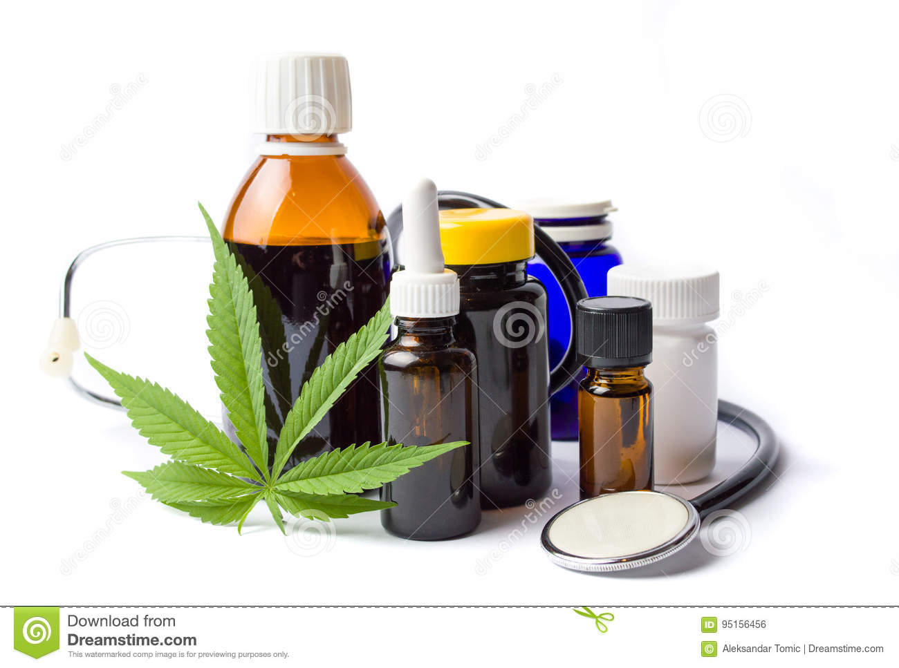Marijuana and cannabis oil bottles isolated